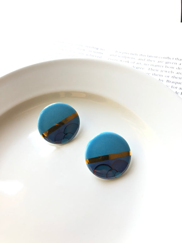 Half Ripple Aqua Blue Porcelain Stud Statement Earrings