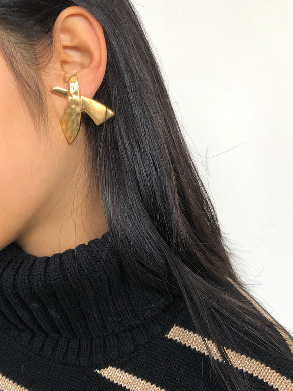 Half-rugged X Gold Statement Earrings