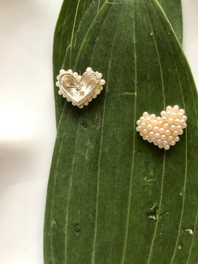 Heart Ivory Beads Sterling Silver Cluster Earrings