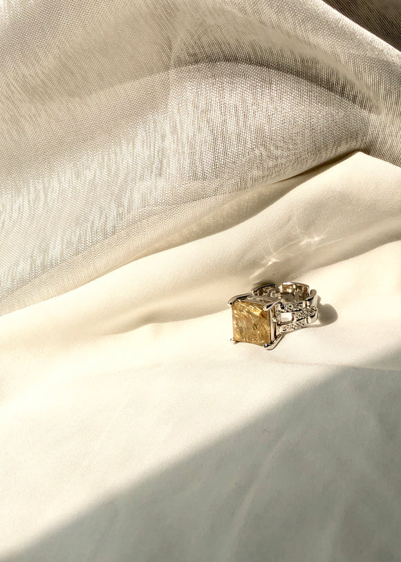 Golden Rutilated Quartz Ring