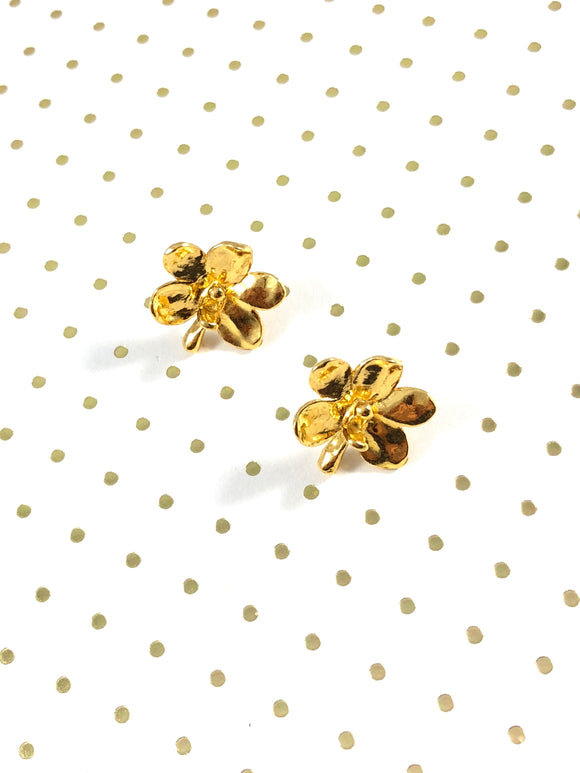 Vintage 24k Gold Orchid Stud Earrings