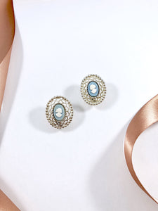 Vintage 70s Sarah Coventry bluebell Cameo Clip Earrings