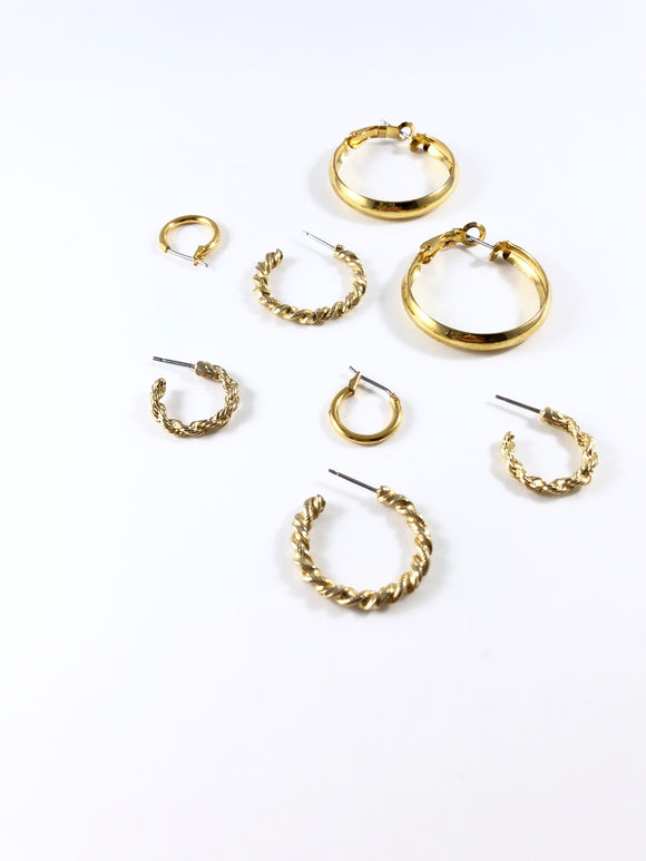 Vintage Basic Gold Hoop Earring Set