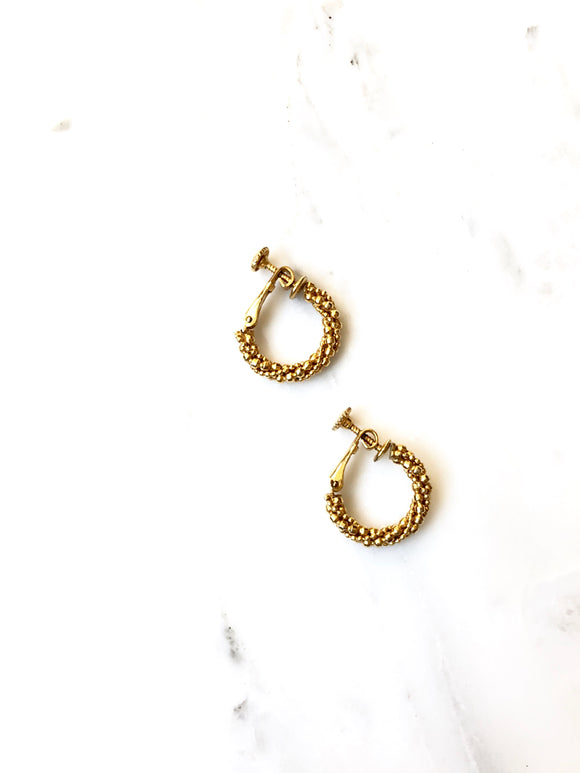 Vintage 70s Napier Gold Hoop Earrings