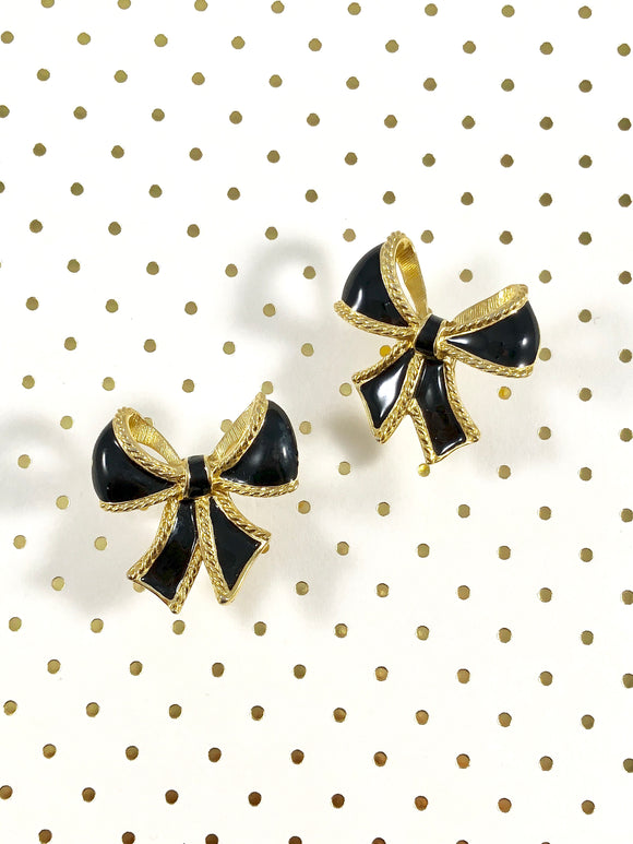 Vintage 70s K.J.L for Avon Black Bow Stud Earrings