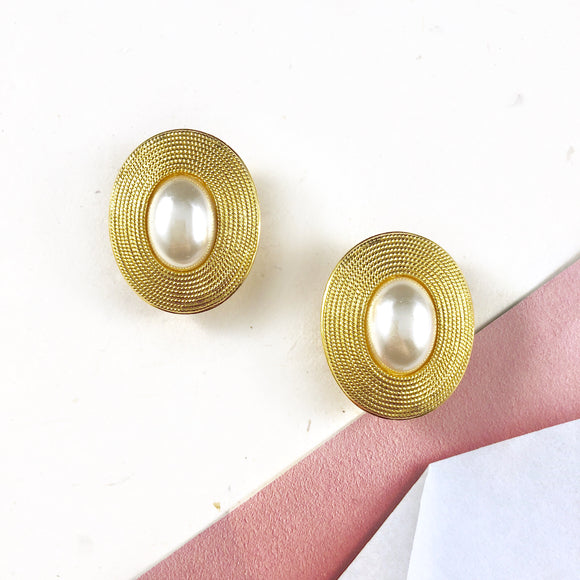 Vintage Napier Classic Oval Gold frame Pearl Earrings