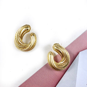 Vintage 70s Gold Croissant Statement Earrings