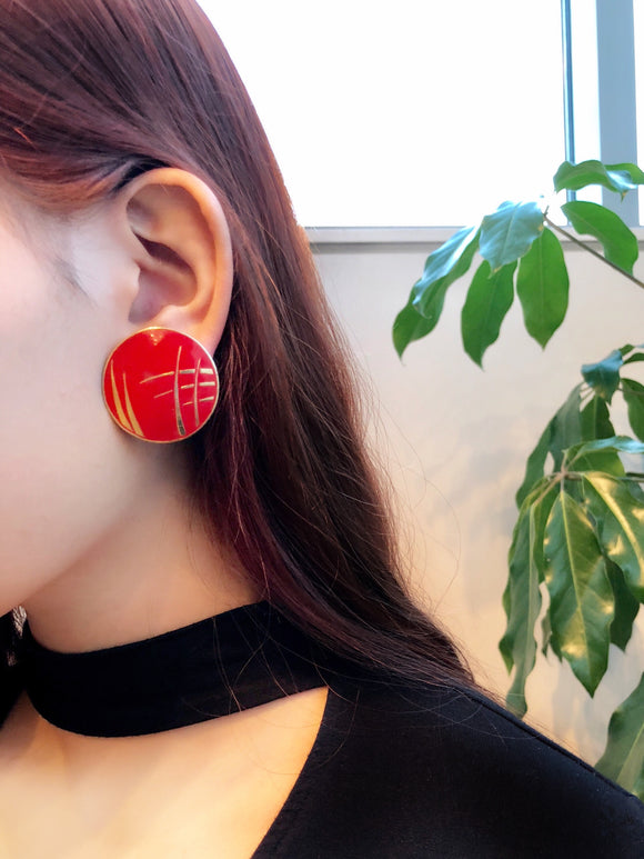 Vintage L.BOTT Red Enamel Gold Art button Earrings