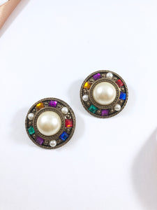 Vintage 80s Art Deco Pearl Jewels Earrings