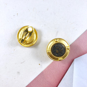 Vintage Premier Classic coin figure Gold Frame Earrings