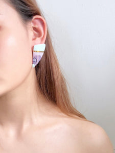 Vintage 80s Abstract Porcelain Earrings