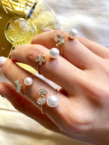 Bubble Pearl and Crystal Adjustable Open Ring