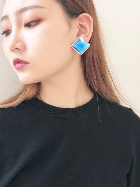 Vintage 80s Ice Cube Jewel Earrings