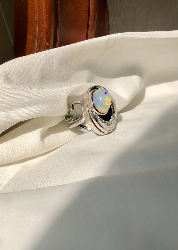 Orbit Opal Aquamarine Ring