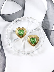 Vintage 70s Crystal Lime Heart Frame Earrings