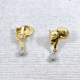 Vintage Gold Cat with Dangle Wool ball Earrings