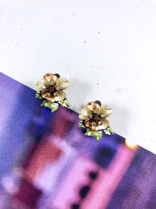 Vintage 60s Vintage Enameled Floral Earrings