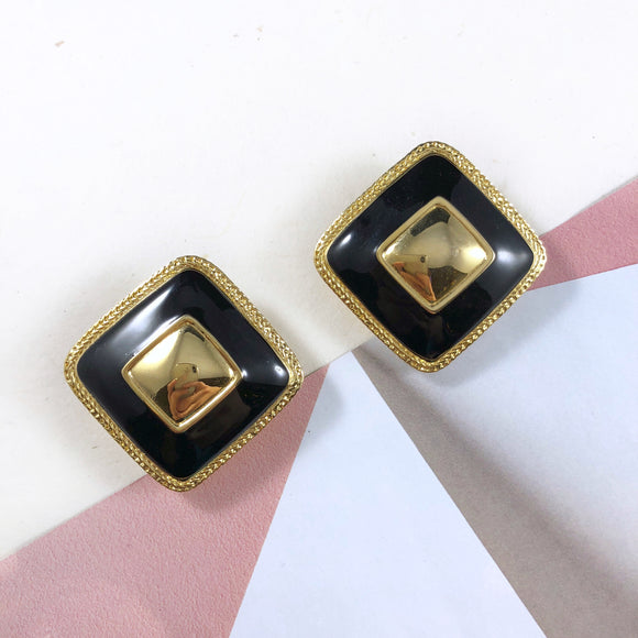 Vintage 80s Premier Art Deco Enamel earrings