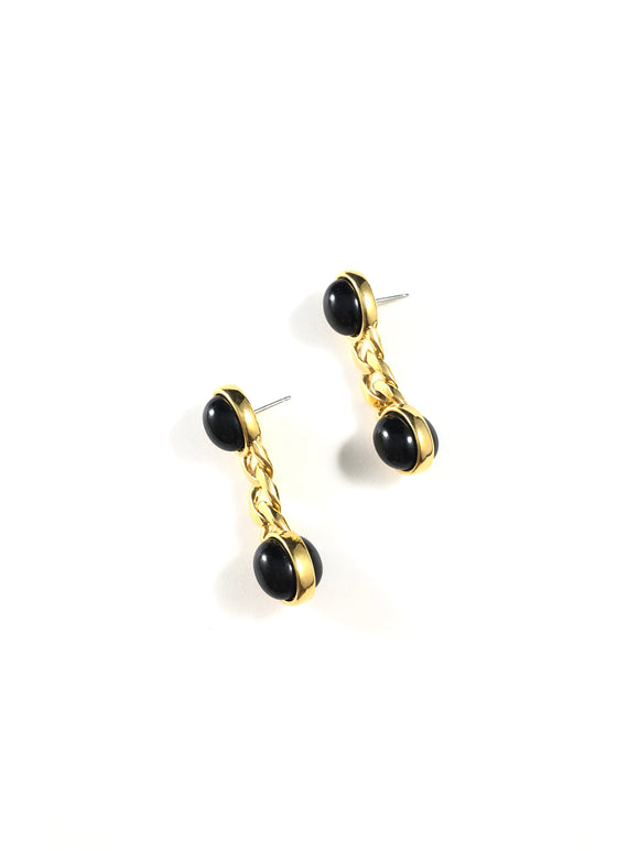 Vintage 80s Black Cabochon Gold Link Earrings