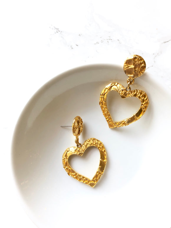 Vintage 70s Gold Heart Drop Earrings