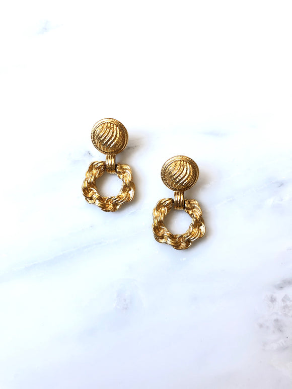 Vintage 70s Monet Gold Door Knocker Earrings