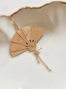 Little Gold Fan Earring, (Single)
