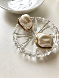 Irregular Pearl Gold Gumdrop Earrings
