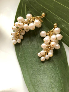 Ivory Bead Gold Cluster Earrings