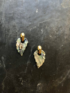 Leaves Mother Of Pearl Gold Convertible Statement Earrings