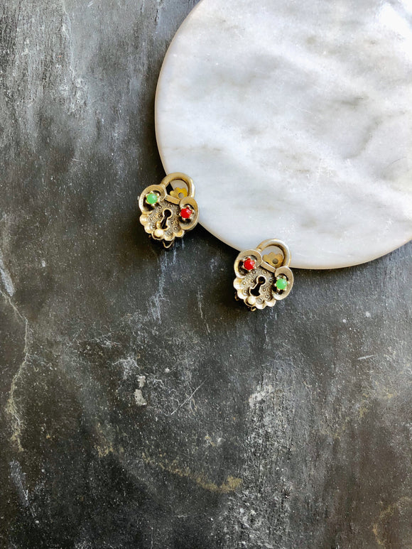 Lock Multi-color Beads Antique Gold Clip On Earrings