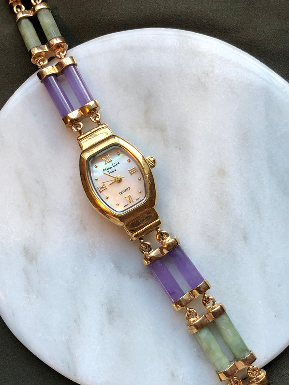 Main Line Time Multi-Color Jade & Mother of Pearl Gold Watch