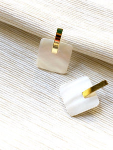 Minimalist Square Pearl Gold Pierced Earrings