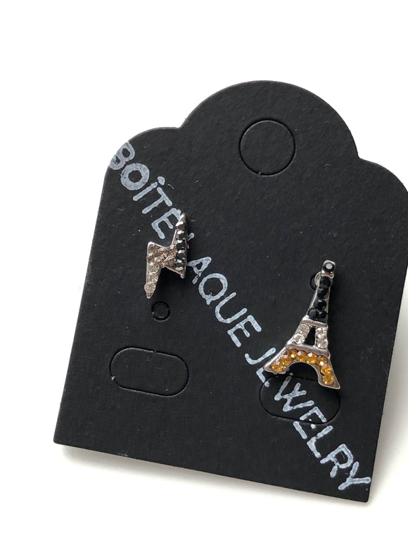 Paris Yellow Black Sparkled Eiffel Tower Mix Stud Earrings