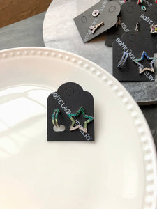Green Sparkled Star & Half Hoop Mix Earrings