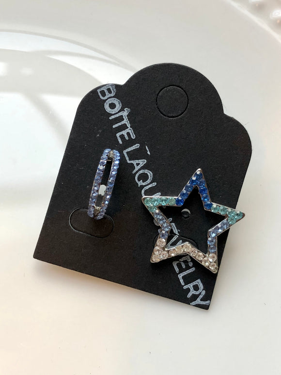 Blue Sparkled Star & Half Hoop Mix Earrings