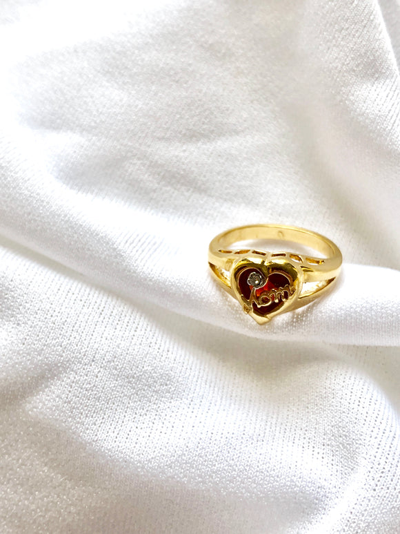Mom Ruby Heart 14k Gold Plated Ring