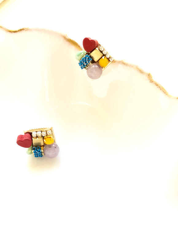 Multicolor Heart & Beads Embed Gold Pierced Earrings
