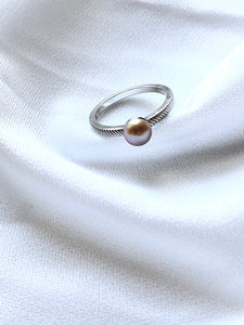NVC Dainty Pearl Silver Solitaire Ring
