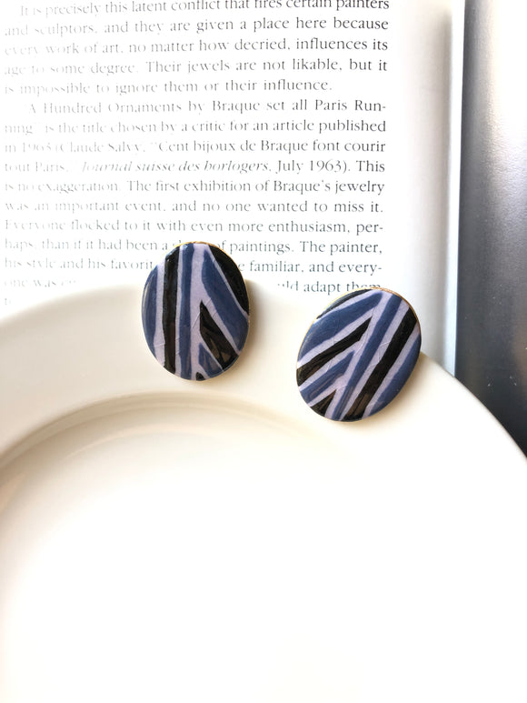 Oval Blue & Black Stripe Porcelain Stud Earrings