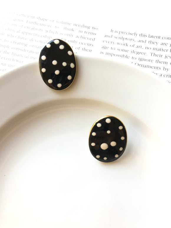 Oval Irregular White Dots Black Porcelain Stud Earrings