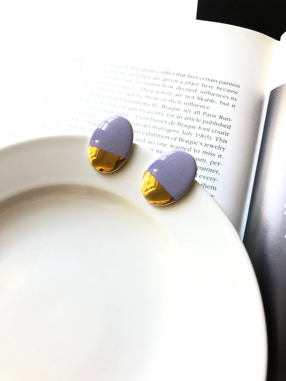 Oval Lavender Purple Gold Dipped Porcelain Stud Earrings