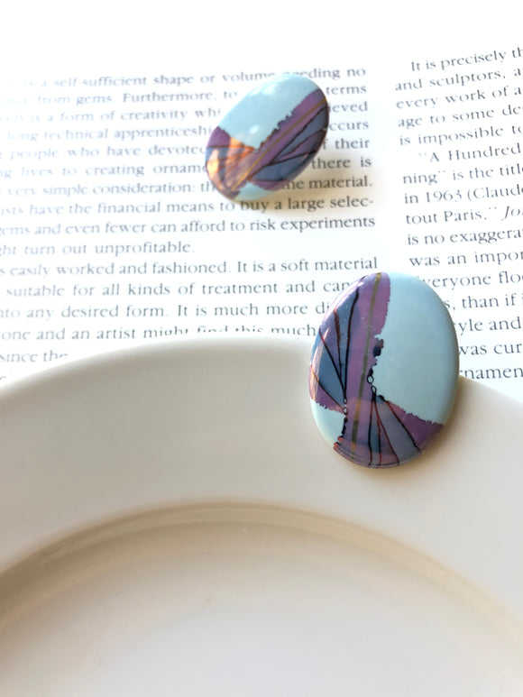 Oval Light Blue & Purple Porcelain Stud Earrings