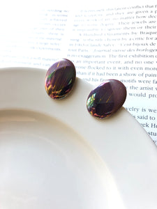 Oval Mottle Gold Burgundy Red Porcelain Stud Earrings