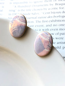 Oval Mottle Pink Porcelain Stud Earrings