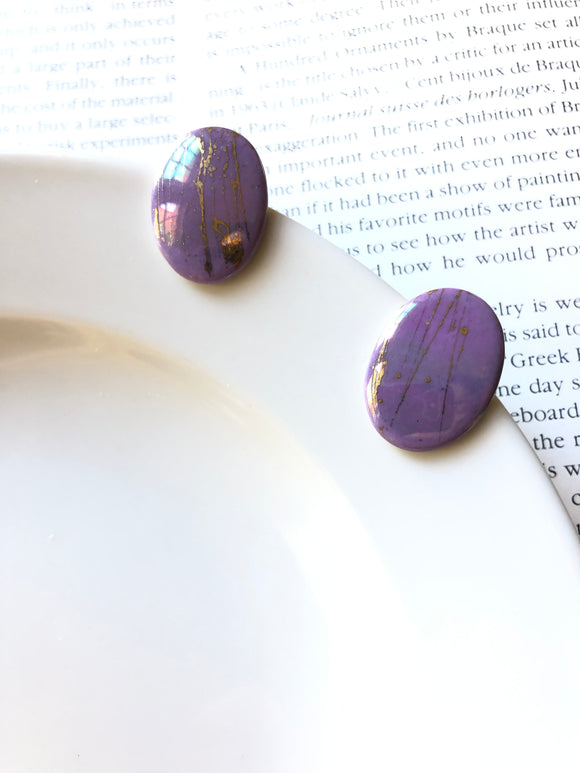 Oval Mottled Purple Porcelain Stud Earrings