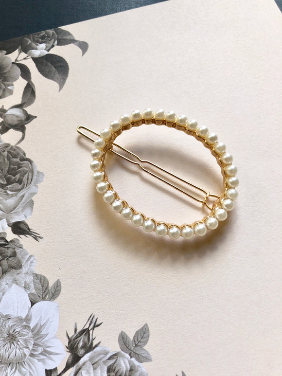 Oval Pearl Round 14k Gold Plated Hair Clip