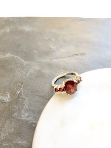 Oval Red Synthetic Ruby Silver Solitaire Ring