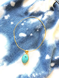 Oval Turquoise Colorstone 14k Gold Open Chocker