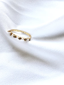 Pearl & Crystal Side 14k Gold Plated Slim Ring