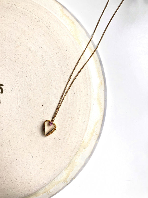 Pink Open Heart 14k Gold Pendant Necklace